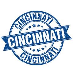 Cincinnati blue round grunge vintage ribbon stamp vector
