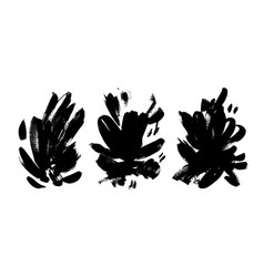 collection black brushstrokes vector image