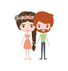 Colorful caricature thin couple of bearded man and vector