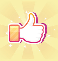 Colorful sparkly thumbs up vector