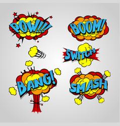 comic book cartoon explosion set bang boom vector image