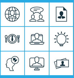 Corporate icons set with problem solving vector