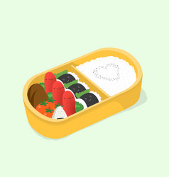 Cute bento japanese lunch box funny cartoon food vector