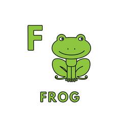 Cute cartoon animals alphabet frog vector