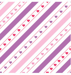 diagonal lines seamless pattern with hearts vector image
