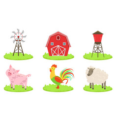 different farm elements set farm animals wind vector image