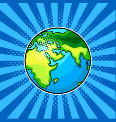 Earth globe comic book style vector