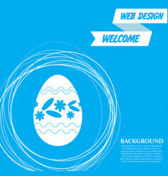 easter egg icon on a blue background with vector image