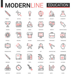 education flat thin red black line icon vector image