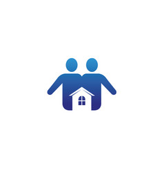 family house care a couple with a small home logo vector image