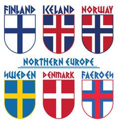Flags nordic countries scandinavia norway vector