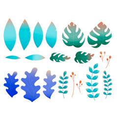 flat leaves in abstract style on green vector image