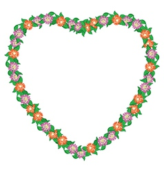 floral heart with flowers - frame vector image