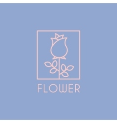 Flower Shop Icon and Lettering Set vector image