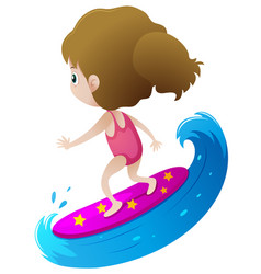 girl surfing on big wave vector image
