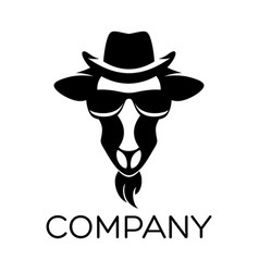 goat in retro hat logo vector image
