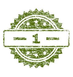 grunge textured 1 stamp seal vector image