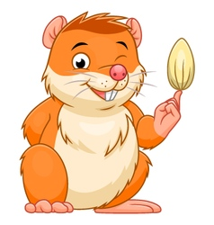 Hamster with a grain vector image