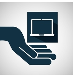hand hold laptop e-commerce icon vector image