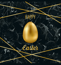Happy easter luxury greeting card on black marble vector