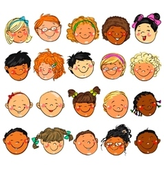 Happy Kids faces Hand drawn clip-art vector image