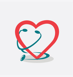 Heart and stethoscope symbol vector