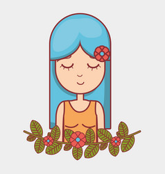 hippie woman relaxing with flowers vector image