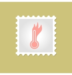 Hot thermometer stamp vector