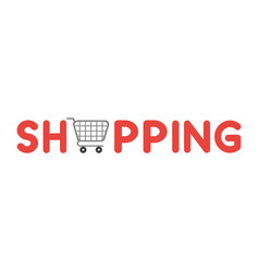 icon concept of shopping word with shopping cart vector image