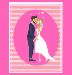 just married couple in wedding suit dress in frame vector image