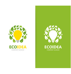 lamp and leaf logo combination idea and vector image