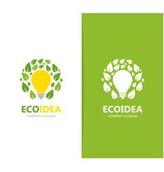Lamp and leaf logo combination idea vector