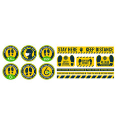 large collection social distance floor stickers vector image