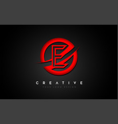 letter e logo with a red circle swoosh design vector image