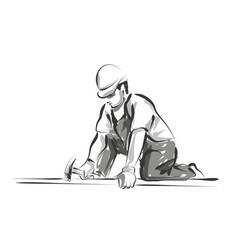 Line sketch worker vector