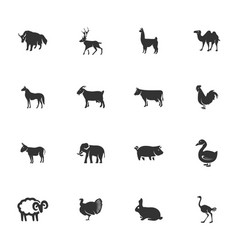 livestock and farm animals icons set vector image