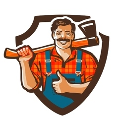 lumberjack logo woodcutter or forester vector image