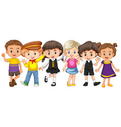 many kids with happy face vector image