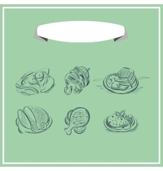 Meat menu chalked on a blackboard design vector image