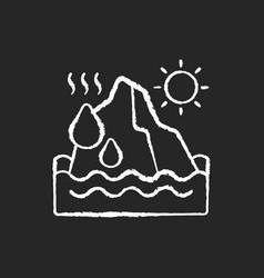 melting glaciers chalk white icon on black vector image