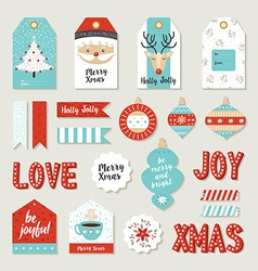 Merry christmas set scrapbook diy printable tags vector