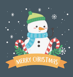 merry merry christmas card with snowman vector image