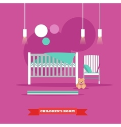 Nursery interior in flat vector