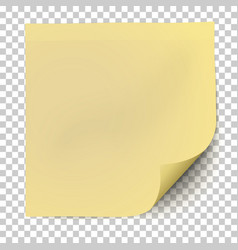 office yellow paper sticker with curled corner vector image