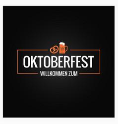 oktoberfest with beer mug and pretzel vector image