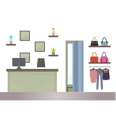 Ounter in woman shopping store computer and racks vector