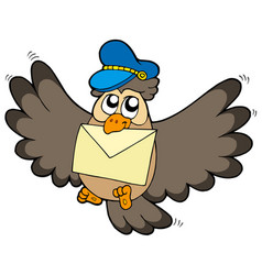 Owl postman with letter vector