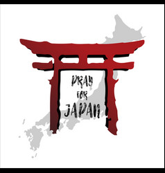 Pray for japan abstract background concept red vector