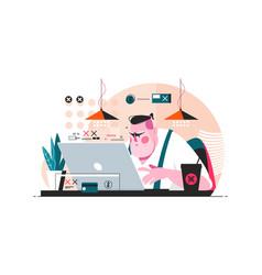 programmer working on laptop vector image