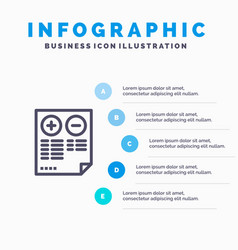 Pros cons document plus minus blue infographics vector
